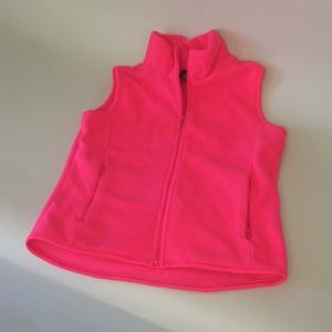 Gap Hot pink fleece vest with zippered pockets